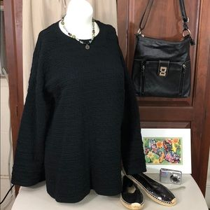 ZARA Black Long Sleeve Textured Stretchy Top